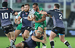 A bloodied Connacht number 8 George Naoupu in need of support as Ospreys trio Lloyd Peers, Sam Parry and Sam Davies close in.<br /> Guiness Pro12<br /> Ospreys v Connacht<br /> Liberty Stadium<br /> 31.10.14<br /> &copy;Steve Pope-SPORTINGWALES
