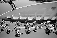 peloton over the Saône River Bridge<br /> <br /> 2014 Tour de France<br /> stage 12: Bourg-en-Bresse - Saint-Etiènne (185km)