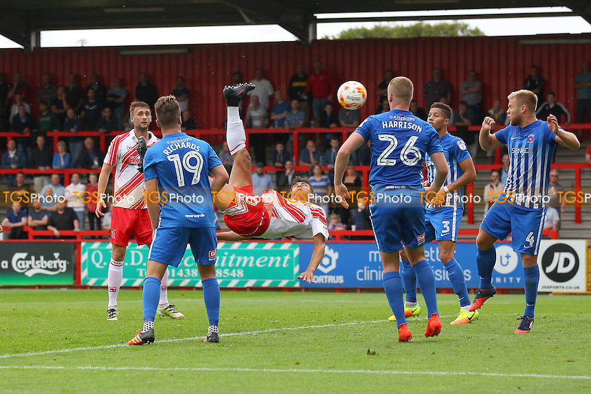 Tyler Walker of Stevenage scores the second goal for his team with an overhead kick during Stevenage vs Hartlepool United, Sky Bet EFL League 2 Football at the Lamex Stadium on 3rd September 2016
