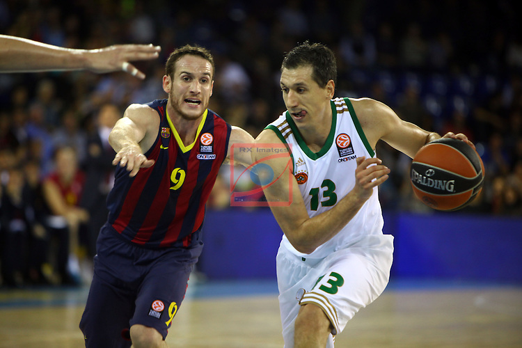 Euroleague Basketball-Regular Season Round 5.<br /> FC Barcelona vs Panathinaikos Athens: 78-69.<br /> Marcelinho Huertas vs Dimitris Diamantidis.