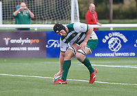 Ben West of Ealing Trailfinders scores a try during the RFU Championship Cup match between Ealing Trailfinders and Ampthill RUFC at Castle Bar , West Ealing , England  on 28 September 2019. Photo by Alan  Stanford / PRiME Media Images