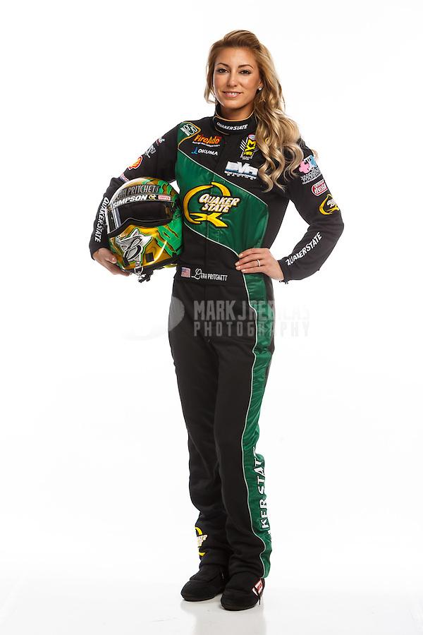 Feb 10, 2016; Pomona, CA, USA; NHRA top fuel driver Leah Pritchett poses for a portrait during media day at Auto Club Raceway at Pomona. Mandatory Credit: Mark J. Rebilas-USA TODAY Sports