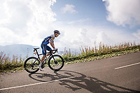Bob Jungels (LUX/Deceuninck-QuickStep) up the finish climb & the highest peak of the 2020 #TdF: the Col de la Loze (HC/2304m/21,5km @7,8%)<br /> <br /> Stage 17 from Grenoble to Méribel - Col de la Loze (170km)<br /> <br /> 107th Tour de France 2020 (2.UWT)<br /> (the 'postponed edition' held in september)<br /> <br /> ©kramon