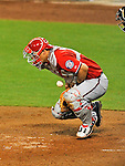 23 July 2011: Washington Nationals catcher Wilson Ramos blocks a pitch during game action against the Los Angeles Dodgers at Dodger Stadium in Los Angeles, California. The Dodgers rallied to defeat the Nationals 7-6 on a Rafael Furcal walk-off, RBI double in the bottom of the 9th inning. Mandatory Credit: Ed Wolfstein Photo