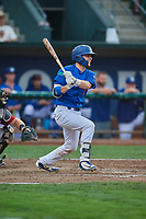 Tre Todd (11) of the Ogden Raptors bats against the Great Falls Voyagers at Lindquist Field on August 21, 2018 in Ogden, Utah. Great Falls defeated Ogden 14-5. (Stephen Smith/Four Seam Images)