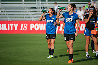 Kansas City, MO - Saturday June 17, 2017: Brittany Taylor, Yael Averbuch during a regular season National Women's Soccer League (NWSL) match between FC Kansas City and the Seattle Reign FC at Children's Mercy Victory Field.