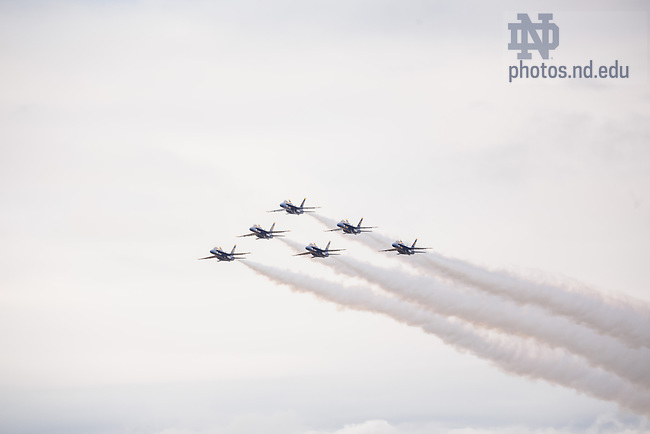 Nov. 2, 2013; The U.S. Navy Blue Angels Flight Demonstration Team peforms a flyover of Notre Dame Stadium before the Navy game, 2013.<br /> <br /> Photo by Peter Ringenberg/University of Notre Dame