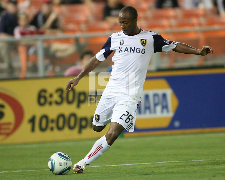 Collen Warner #26 of Real Salt Lake during an Open Cup match against D.C. United at RFK Stadium, on June 2 2010 in Washington DC. DC United won 2-1.