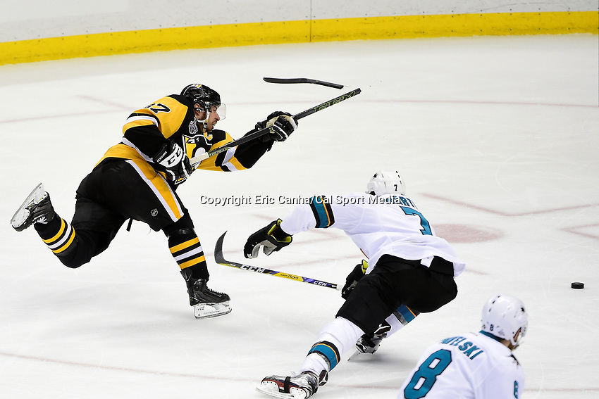 Wednesday, June 1, 2016: Pittsburgh Penguins center Sidney Crosby (87) breaks his stick taking a shot during game 2 of the NHL Stanley Cup Finals  between the San Jose Sharks and the Pittsburgh Penguins held at the CONSOL Energy Center in Pittsburgh Pennsylvania. The Penguins beat the Sharks in overtime 2-1 and lead the best of 7 series 2-0. Eric Canha/CSM