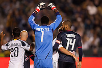 LA Galaxy goal keeper Donovan Ricketts stands tall defending his box from Red Bulls forward Thierry Henry (14) waiting for a corner kick. The LA Galaxy and Red Bulls of New York played to a 1-1 tie at Home Depot Center stadium in Carson, California on  May 7, 2011....