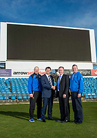 Picture by Allan McKenzie/SWpix.com - 07/03/2017 - Commercial - Cricket - Yorkshire County Cricket Club with The Skipton Building Society - Headingley Cricket Ground, Leeds,  England - Yorkshire's Director of Cricket Martyn Moxon shakes hands with the Skipton Building Society's Chief Executive David Cutter along with Andrew Gale & Mark Arthur.