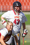 Los Angeles, CA 04/22/16 - Cassandra Collins (USC #43) in action during the NCAA Stanford-USC Division 1 women lacrosse game at the Los Angeles Memorial Coliseum.  USC defeated Stanford 10-9/