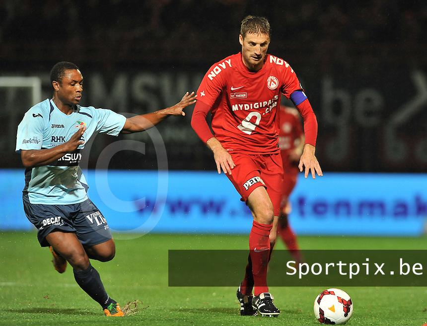 KV Kortrijk - KV Oostende : Nebojsa Pavlovic (rechts) aan de bal voor Sebastien Siani (links)<br /> foto VDB / Bart Vandenbroucke
