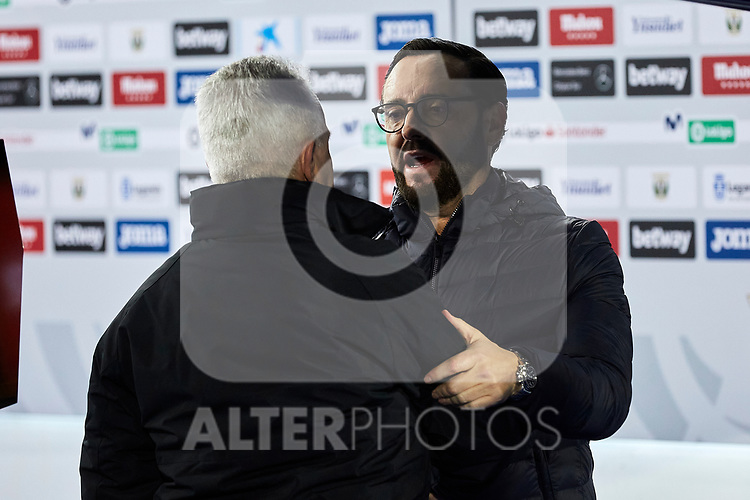 Javier Aguirre coach of CD Leganes and coach Jose Bordalas of Getafe FC during La Liga match between CD Leganes and Getafe CF at Butarque Stadium in Leganes, Spain. January 17, 2020. (ALTERPHOTOS/A. Perez Meca)