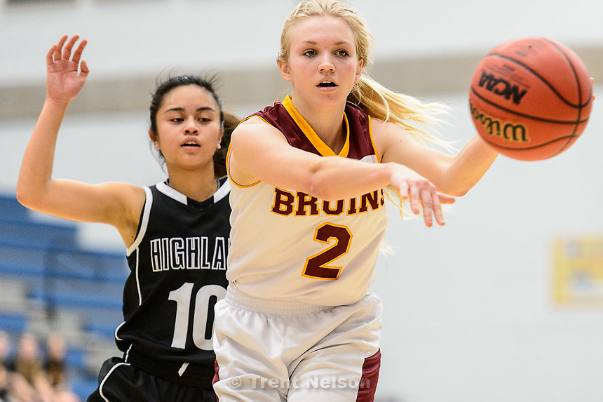 Trent Nelson  |  The Salt Lake Tribune<br /> Mountain View's Stephanie Keele (2) passes the ball, as Mountain View faces Highland in the 4A state basketball tournament at Salt Lake Community College in Taylorsville, Tuesday February 17, 2015. Highland's Marlee Machon at left.
