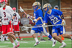 Orange, CA 03-05-17 - Zach Muduryan (UCLA #5) and Joe Lee (UCLA #22) in action during the UCLA - Champman Southern Lacrosse Conference MCLA Division 1 Men's Lacrosse game.