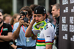World Champion Peter SAGAN (SVK) of Bora-Hansgrohe waiting for the podium ceremony after the 2018 Paris-Roubaix race at Velodrome Roubaix, France, 8 April 2018, Photo by Pim Nijland / PelotonPhotos.com | All photos usage must carry mandatory copyright credit (Peloton Photos | Pim Nijland)