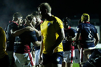TRY - Jonny Harris of London Scottish is congratulated during the Championship Cup match between London Scottish Football Club and Yorkshire Carnegie at Richmond Athletic Ground, Richmond, United Kingdom on 4 October 2019. Photo by Carlton Myrie / PRiME Media Images