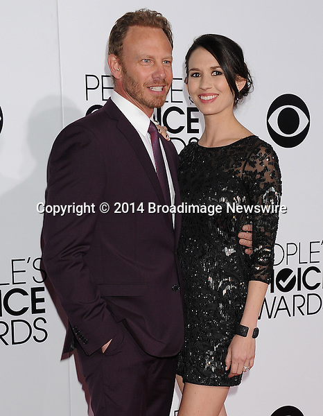 Pictured: Erin Kristine Ludwig, Ian Ziering<br /> Mandatory Credit &copy; Gilbert Flores /Broadimage<br /> 2014 People's Choice Awards <br /> <br /> 1/8/14, Los Angeles, California, United States of America<br /> Reference: 010814_GFLA_BDG_289<br /> <br /> Broadimage Newswire<br /> Los Angeles 1+  (310) 301-1027<br /> New York      1+  (646) 827-9134<br /> sales@broadimage.com<br /> http://www.broadimage.com