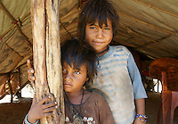 children of Bopa cast  in their home tent in the desert  outside holy city Pushkar, Rajastan, India
