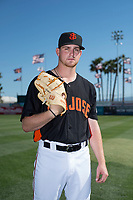 San Jose Giants starting pitcher Mac Marshall (19) poses for a photo before a California League game against the Lancaster JetHawks at San Jose Municipal Stadium on May 12, 2018 in San Jose, California. Lancaster defeated San Jose 7-6. (Zachary Lucy/Four Seam Images)