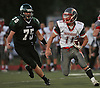 Connetquot running back No. 11 Jack Spataro, right, looks for an opening during the second quarter of a Suffolk County Division I varsity football game against Lindenhurst at Lindenhurst Middle School on Friday, September 18, 2015.<br /> <br /> James Escher