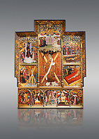 Gothic altarpiece dedicated to St Vincent by Bernat Martorell circa 1483-1440 in Barcelona, tempera and gold lef on wood from the Parish church of St Vincent of menarguens, Noguera, Spain. At the top of the central panels of the altar tryptic, replacing the traditional Calvery scene, can be seen in the centre the Virgin of Mercy and kneeling to the left is Sant Benet de Bages, in black, and to the right St. Bernard of Clairvaux, patron saint of thr Benedictine and Cistercian orders . Below this is a depiction of St Vincent and either side are scenes of the Mardom of Vincent. Along the bottom are scenes from the Passion of Christ, with Judas in a yellow tunic kissing Christ and a furious Peter cutting off the ear of Malcus. National Museum of Catalan Art (MNAC), Barcelona, Spain, inv 15797