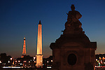 Twilight view of Concorde Square Place de la Concorde with Obelisk and Eiffel Tower in the background. Paris. France