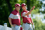 SUGAR GROVE, IL - MAY 31: Assistant Coach Jim Garren and Grant Hirschman of the University of Oklahoma discuss the next shot during the Division I Men's Golf Team Championship held at Rich Harvest Farms on May 31, 2017 in Sugar Grove, Illinois. Oklahoma won the national title. (Photo by Jamie Schwaberow/NCAA Photos via Getty Images)