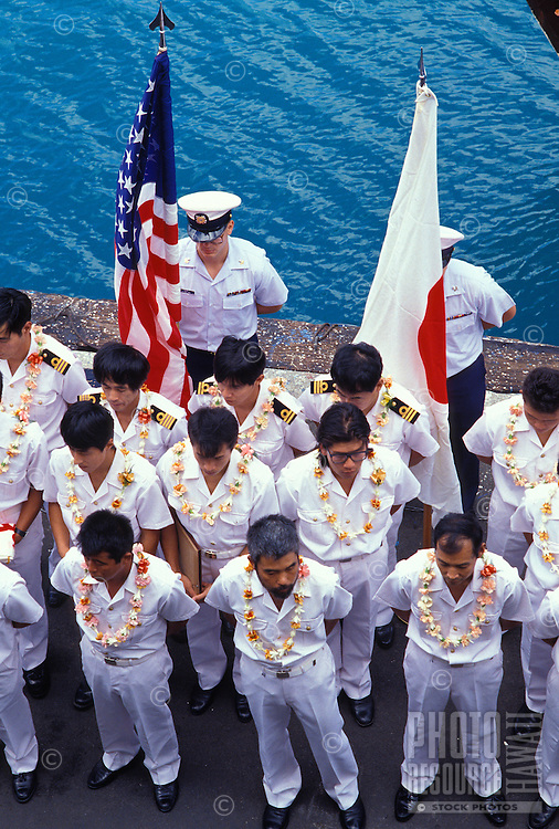 Japanese soldiers wearing leis, during the arrival ceremonies for the 500th anniversary (1492-1992), onboard a visiting Japanese ship docked at Honolulu Harbor