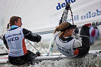 Medemblik - the Netherlands, May 26th 2010. Delta Lloyd Regatta in Medemblik (26/30 May 2010). Day 1. 470 women.