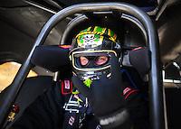 Mar. 30, 2012; Las Vegas, NV, USA: NHRA funny car driver James Day during qualifying for the Summitracing.com Nationals at The Strip in Las Vegas. Mandatory Credit: Mark J. Rebilas-