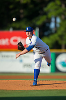 Burlington Royals starting pitcher J.C. Cloney (43) delivers a pitch to the plate against the Danville Braves at Burlington Athletic Stadium on August 12, 2017 in Burlington, North Carolina.  The Braves defeated the Royals 5-3.  (Brian Westerholt/Four Seam Images)