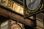 Close up of the Salisbury pub, showing part of exterior and sign, St Martin's Lane, London, England