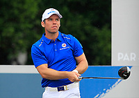 Paul Casey (Europe) on the 9th tee during the Friday Foursomes of the Eurasia Cup at Glenmarie Golf and Country Club on the 12th January 2018.<br /> Picture:  Thos Caffrey / www.golffile.ie
