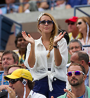 JELENA RISTIC watching NOVAK DJOKOVIC (SRB) (1) against ROGER FEDERER (SUI) (1) in the Semi-Finals of the Men's SIngles. Novak Djokovic beat Roger Federer 6-7 4-6 6-3 6-2 7-5..Tennis - Grand Slam - US Open - Flushing Meadows - New York - Day 13 - September 10th  2011..© AMN Images, Barry House, 20-22 Worple Road, London, SW19 4DH, UK..+44 208 947 0100.www.amnimages.photoshelter.com.www.advantagemedianetwork.com.
