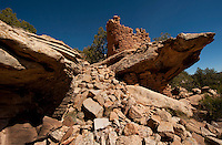 Anasazi / Ancient Pueblo ruins at painted rock. Canyon of the Ancients, Colorado.