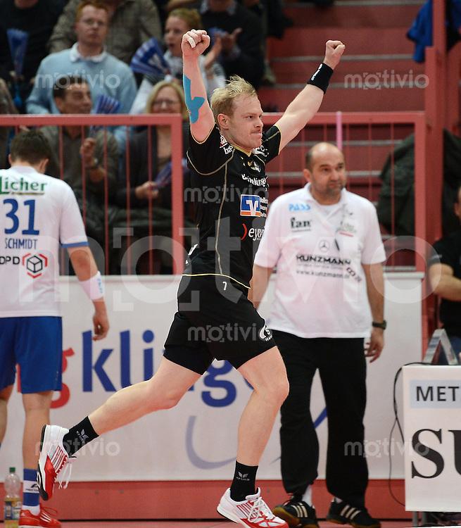 Handball 1. Bundesliga  2012/2013  in der Paul Horn Arena Tuebingen TV Neuhausen - TV Grosswallstadt    23.11.2012 JUBEL Alexander Trost (TV Neuhausen)
