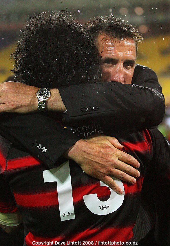 Canterbury coach Rob Penney embraces Casey Laulala after the win during the Air NZ Cup Final between Wellington and Canterbury at Westpac Stadium, Wellington, New Zealand on Saturday 25th October 2008.  Photo: Dave Lintott / lintottphoto.co.nz
