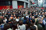 1 million person crowd disperses after parade on Chuodori Avenue, Ginza, Tokyo Japan