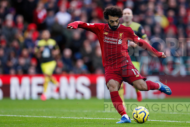 Mohamed Salah of Liverpool shoots at goal during the Premier League match at Anfield, Liverpool. Picture date: 1st February 2020. Picture credit should read: James Wilson/Sportimage