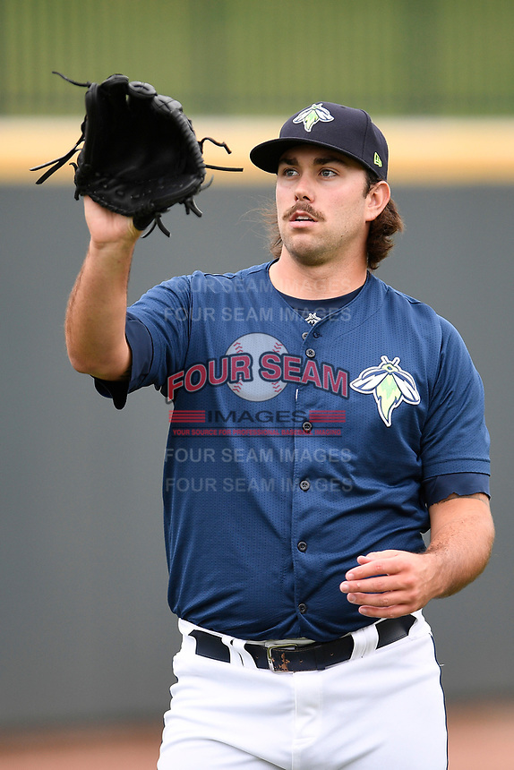 Starting pitcher David Peterson (30) of the Columbia Fireflies warms up before a game against the Greenville Drive on Sunday, May 27, 2018, at Spirit Communications Park in Columbia, South Carolina. Greenville won, 3-0. (Tom Priddy/Four Seam Images)