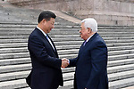 Palestinian president Mahmud Abbas and Chinese President Xi Jinping attend a welcoming ceremony outside he Great Hall of the People in Beijing, China, on July 18, 2017. Abbas is on an official visit to China from July 17-20. Photo by Thaer Ganaim
