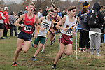 EVANSVILLE, IN - NOVEMBER 18: Matthew Torvik (118) of Dallas Baptist University, Joshua Sickinger (240) of Saint Leo University and Jacob Turner of Walsh College compete in the Division II Men's Cross Country Championship held at the Angel Mounds on November 18, 2017 in Evansville, Indiana. (Photo by Tim Broekema/NCAA Photos/NCAA Photos via Getty Images)