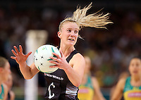 09.10.2016 Silver Ferns Shannon Francois in action during the Silver Ferns v Australia netball test match played at Qudos Bank Arena in Sydney. Mandatory Photo Credit ©Michael Bradley.