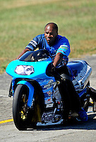 Sept. 5, 2010; Clermont, IN, USA; NHRA pro stock motorcycle rider Michael Phillips during qualifying for the U.S. Nationals at O'Reilly Raceway Park at Indianapolis. Mandatory Credit: Mark J. Rebilas-