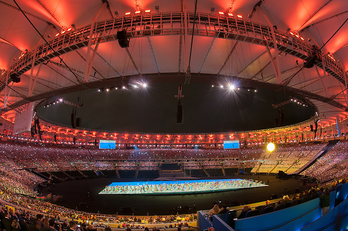 RIO DE JANEIRO - 7/9/2016:  David Eng leads Canada into the stadium during Opening Ceremonies in Maracana at the Rio 2016 Paralympic Games. (Photo by Matthew Murnaghan/Canadian Paralympic Committee