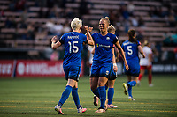 Seattle, WA - Wednesday, June 28, 2017: Megan Rapinoe and Merritt Mathias during a regular season National Women's Soccer League (NWSL) match between the Seattle Reign FC and the Chicago Red Stars at Memorial Stadium.
