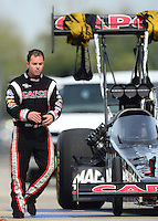 Sept. 30, 2012; Madison, IL, USA: NHRA top fuel dragster driver Steve Torrence during the Midwest Nationals at Gateway Motorsports Park. Mandatory Credit: Mark J. Rebilas-