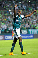 PALMIRA - COLOMBIA, 10-04-2018:Didier Delgado del  Deportivo Cali de Colombia celebra su gol contra Danubio de Uruguay durante partido por la Copa Conmebol Sudamericana , llave 4, jugado en el estadio Deportivo Cali de Palmaseca. /Didier Delgado player of Deportivo Cali of Colombia celebrates his goal agaisnt Danubio of Uruguay during match for the Conmebol Sudamerica Cup played at Palmaseca stadium in Cali.  Photo: VizzorImage / Nelson Rios / Contribuidor